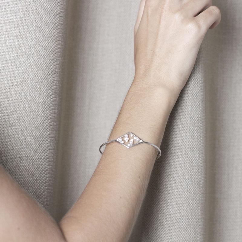 Afew Jewels - Pulsera Aquila 18K Oro Blanco + Perlas Blancas + 0.4Ct Brillantes Blancos