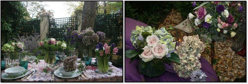 Jardín de té y flores. Mesa morada y puff