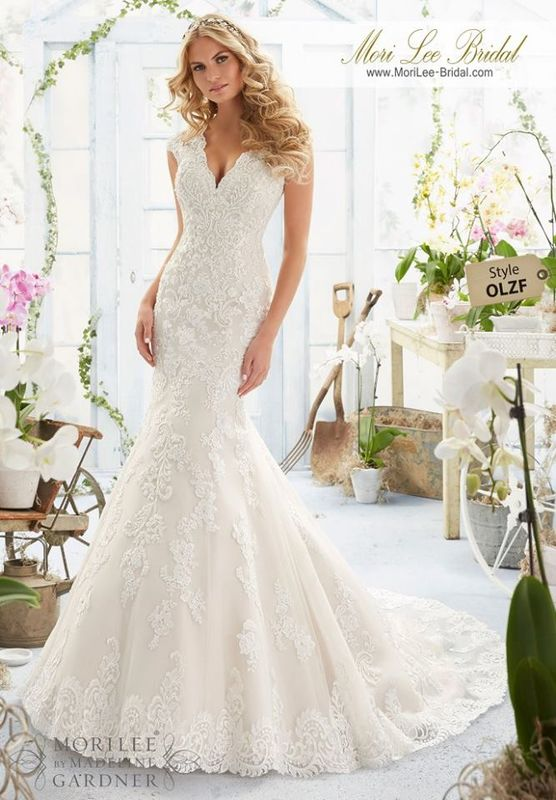 """Wedding Dress OLZF  Crystal Beaded Embroidered Appliques and Scalloped Hemline on a net Gown with Sheer Train  Available in Three Lengths: 55"""", 58"""", 61"""". Colors Available: White, Ivory, Light Gold."""