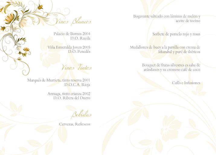 Tarjeta para el menú de boda