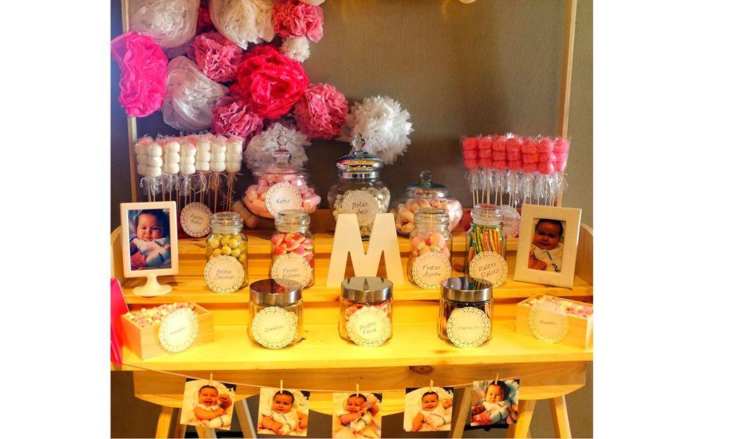 Candy bar tonos rosas y blanco
