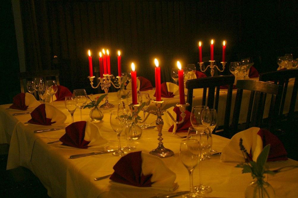 Beispiel: Bankett - Tischdekoration, Foto: Gasthof Herrenhaus Gorbitz.