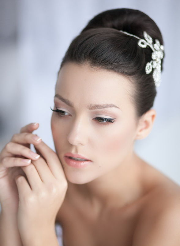 sophisticated elegance: high updo and eyeliner make up