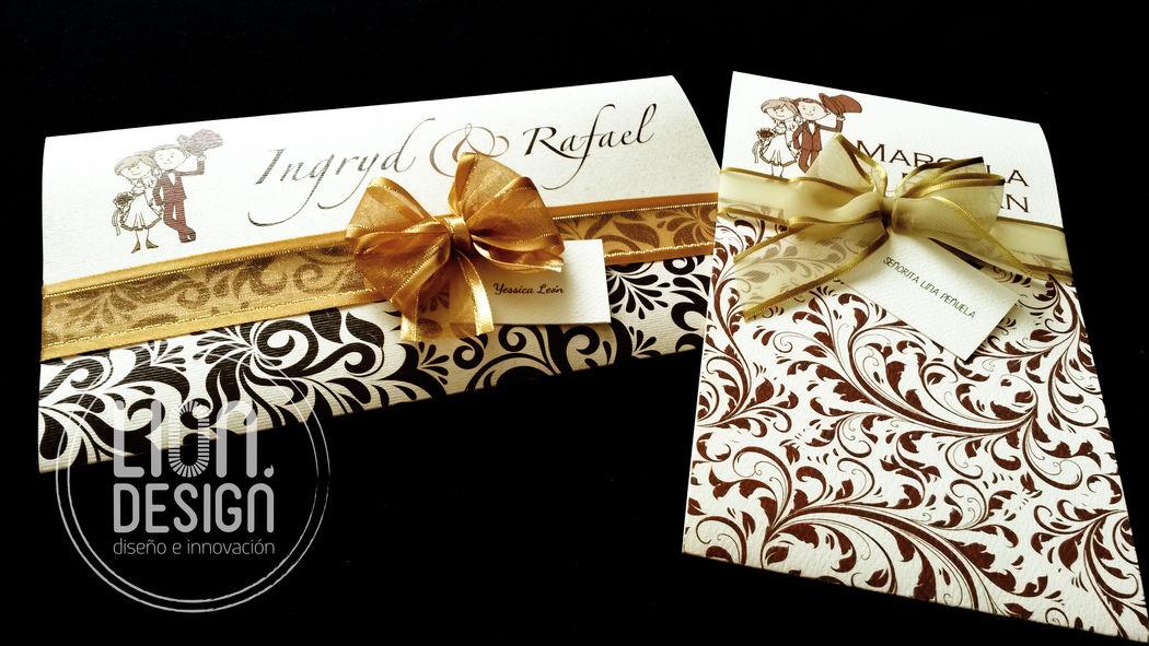 Tarjeta Golden, sobre estampado con el diseño que elijas, cinta de agua o satinada en el color que elijas.