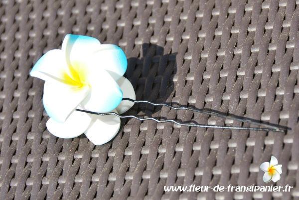 Epingles à cheveux de 9 cm ornées de 2 fleurs de frangipanier de 4 cm. Nombreux coloris disponibles.