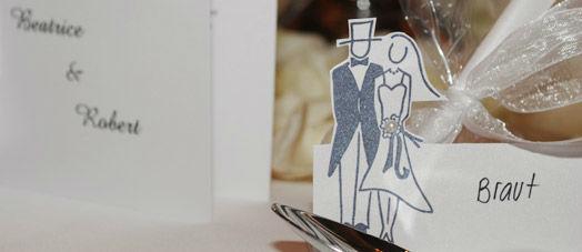 Beispiel: Menükarten und Tischdekoration, Foto: First Class Wedding