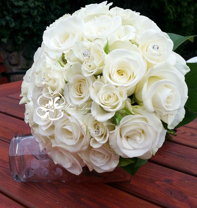 Romantyczny biały bukiet  ślubny