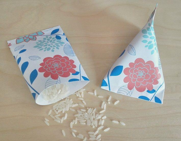 Paquetes para Arroz, Pétalos o Confeti Motivo: Flores Color: Azul y Rosa