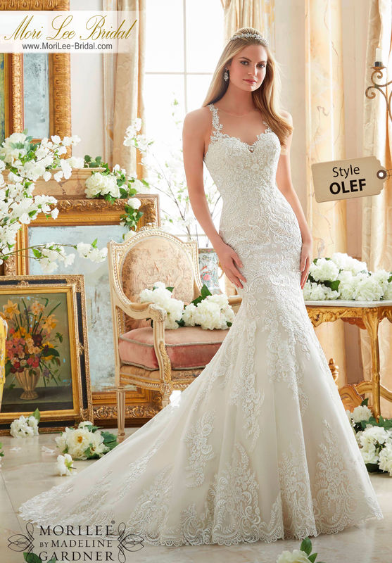 Dress Style OLEF  EMBROIDERED LACE ON SOFT NET WITH WIDE HEMLINE  Available in Three Lengths: 55 , 58 , 61 . Colors Available: White, Ivory, Ivory/Light Gold