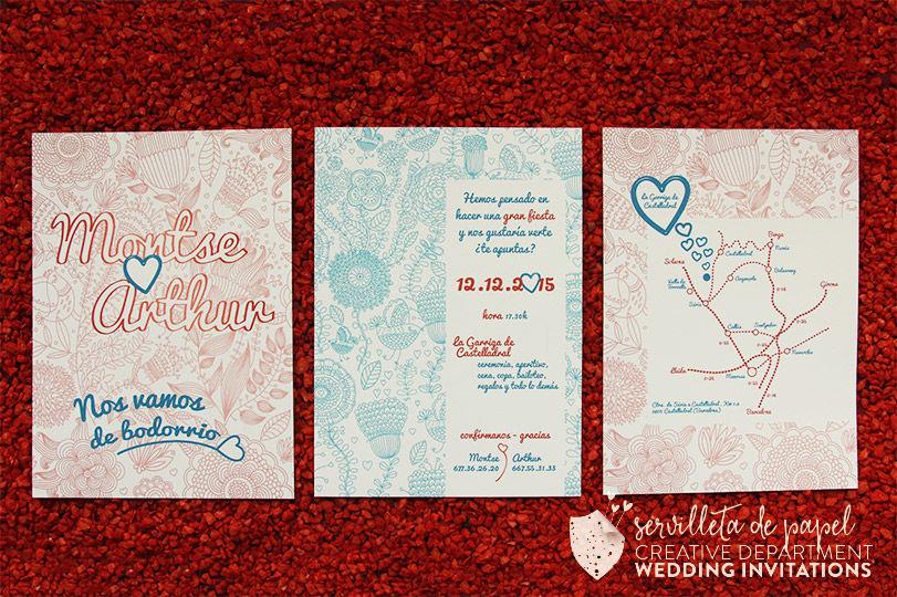 Invitación de boda Montse + Arthur | www.servilletadepapel.es