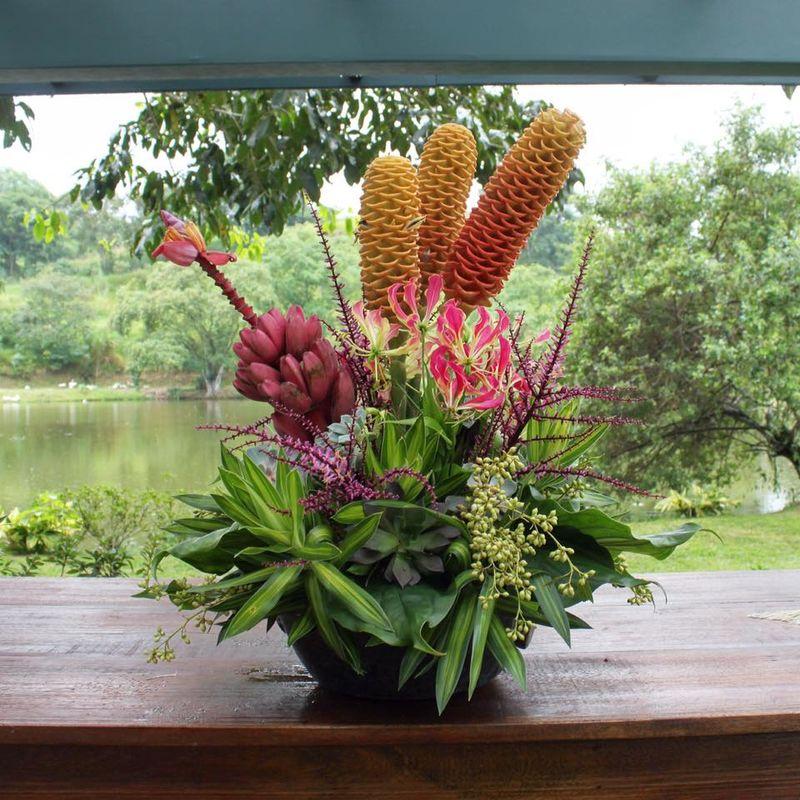 O arranjo com flores tropicais, orquídeas e frutas ficou maravilhoso