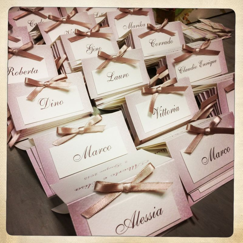 Segnaposto color rosa antico vintage per matrimonio elegante