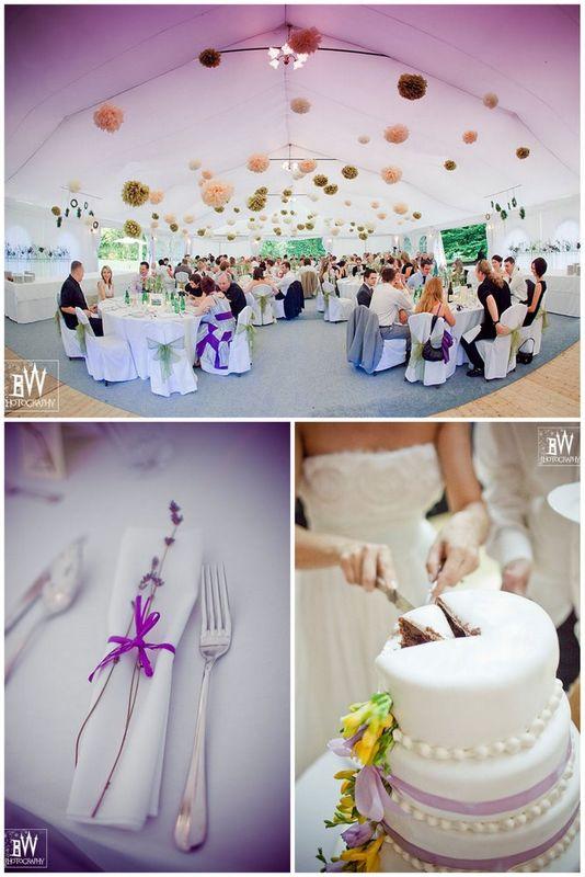 Polsko - angielskie wesele w plenerze, z dużą ilością kwiatów, wianków, papierowych kul zwisających z sufitu