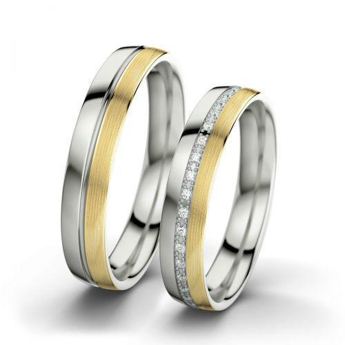Voorbeeld: Letizia & Philippe - Geelgoud (langsmat), Witgoud (gepolijst), Foto: 21 Diamonds.