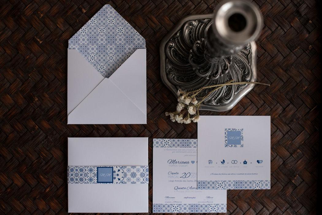 Convite casamento - tema azulejos