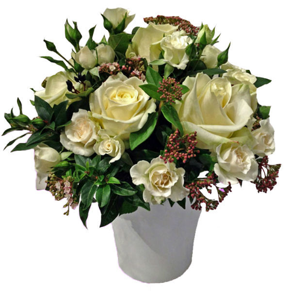 Centre de table blanc & vert classique, toute saison  www.fleurs-fruits-feuillages.fr
