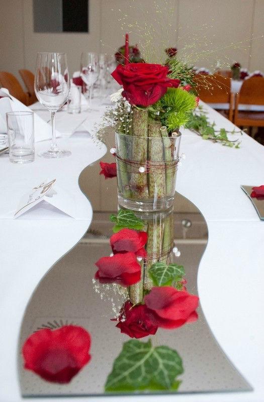 Beispiel: Blumendekoration für Ihren Hochzeitstisch, Foto: Evis Blattwerk.