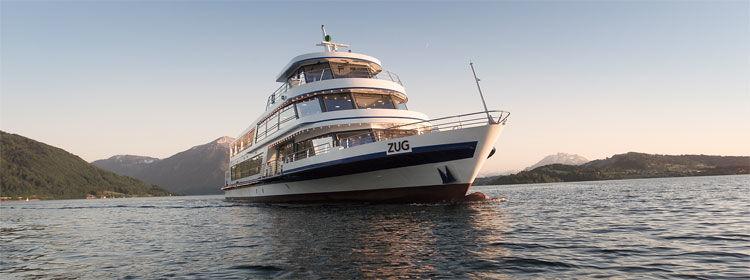 Beispiel: MS Zug, Foto: Zugersee Schifffahrt.