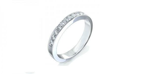 Alianza de Diamantes talla Brillante en oro Blanco, engaste carril