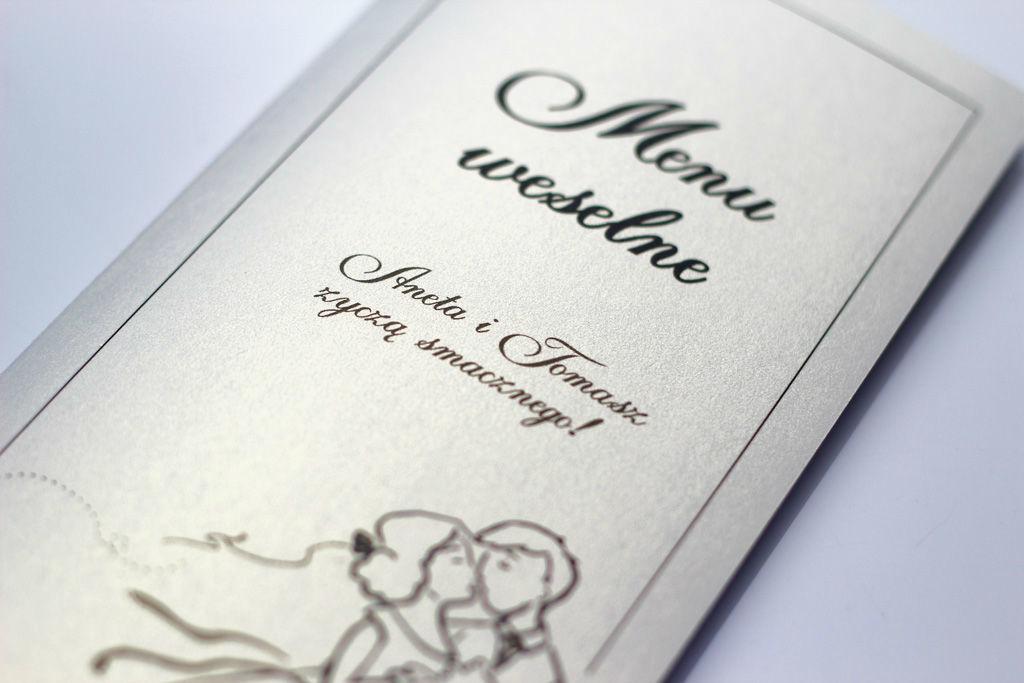 Srebrne menu weselne - Zakochana Para