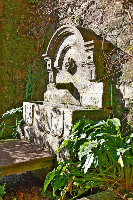 Fuente adosada al muro del Pazo
