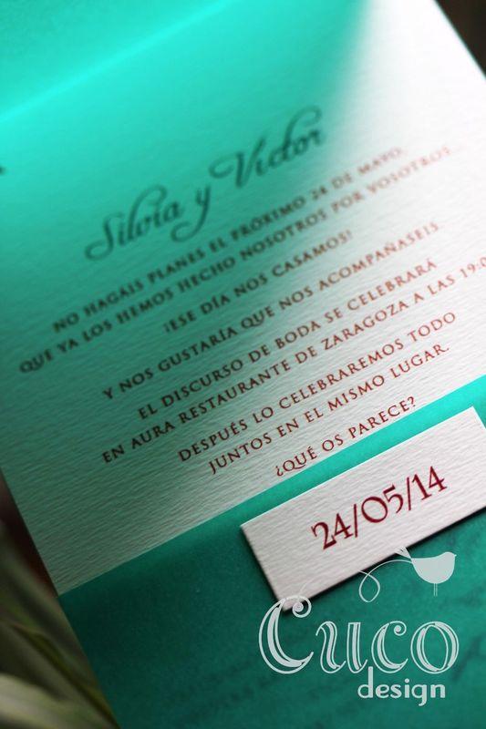 Invitación gaviotas con funda traslucida.