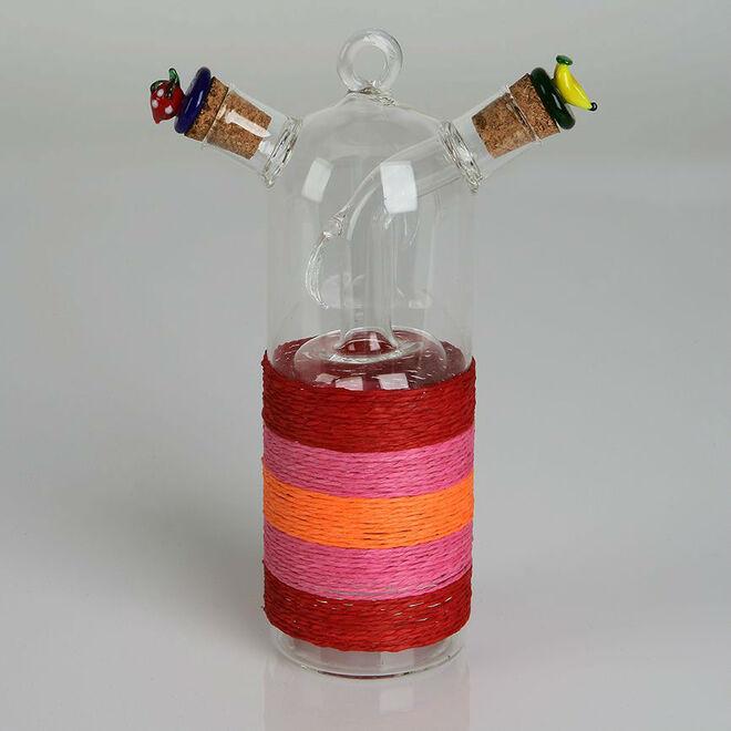 Detalles de boda, vinagrera y aceitera de cristal granate.