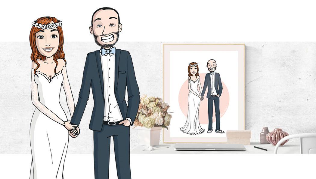 Illustration de mariage personnalisée - Marina Gri