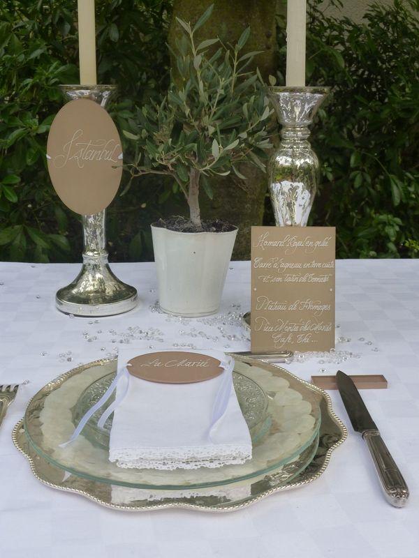 Menu,nom table,marque-place Plexiglas calligraphiés 10cm/15cm, 10cm/5cm