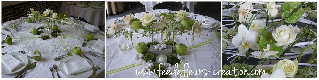 Mariage moderne en blanc et vert.