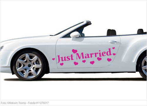 Autoaufkleber Hochzeit - Just Married mit Herzen