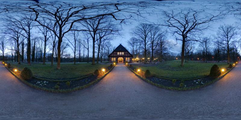 Beispiel: Panorama-Ansicht am Abend, Foto: Parkrestaurant Alte Mühle.