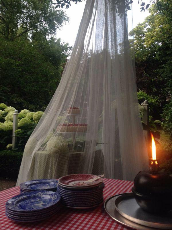 Diner Thuis, taart in de tuin