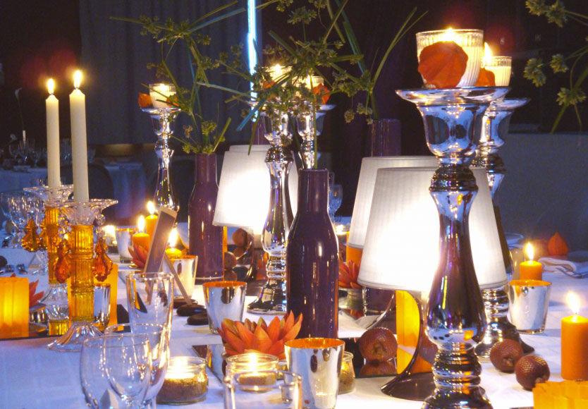 Good Moon - Décoration couleur Aubergine - Orange et argent