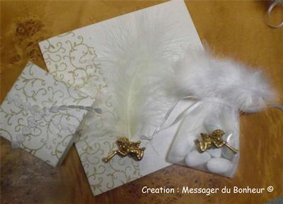 2 volets nacré ivoire, bande baroque or déco angelot doré