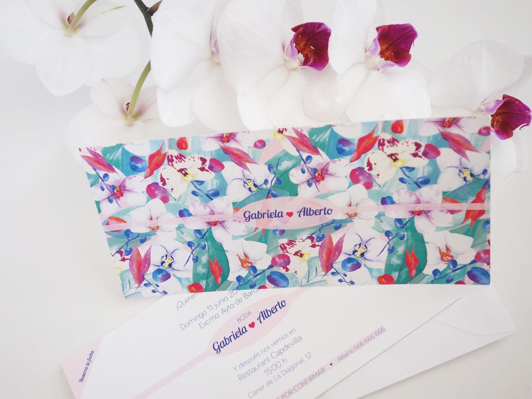 Invitación de boda de la colección Orquídeas Jungle