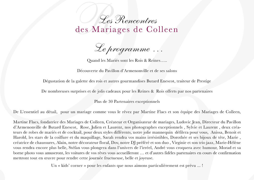 LES RENCONTRES DES MARIAGES DE COLLEEN 10 JANVIER 2016 AU PAVILLON D'ARMENONVILLE