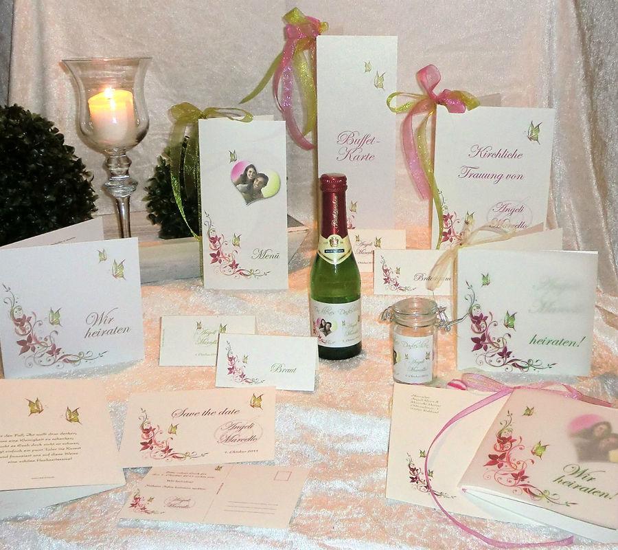 Tisch- & Buffetkarte, Kirchenblatt, Sektetikett, Teelicht-Tischkarte, Cela-Design