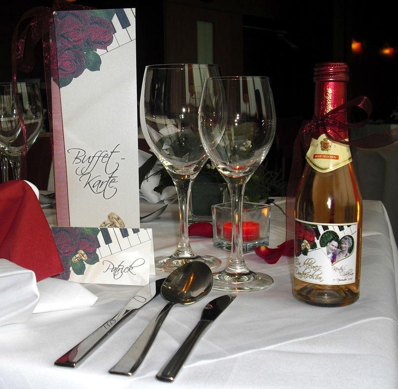 Tisch- & Buffetkarte, Sektetikett, Cela-Design