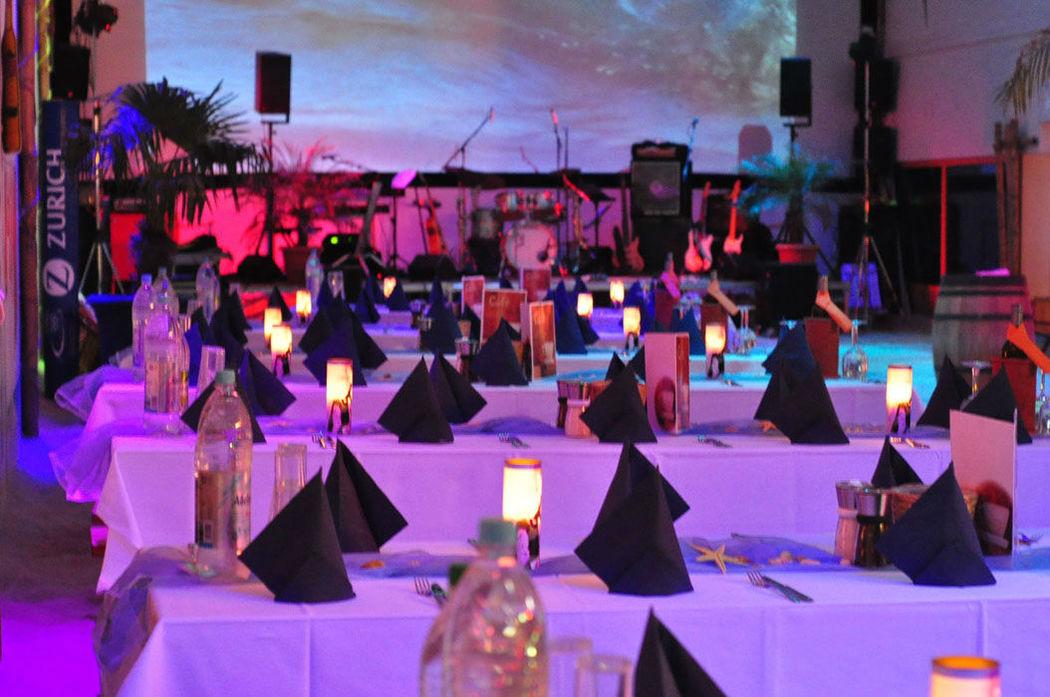 Beispiel: Bankett, Foto: Gestrandet Indoor Beachclub Augsburg.
