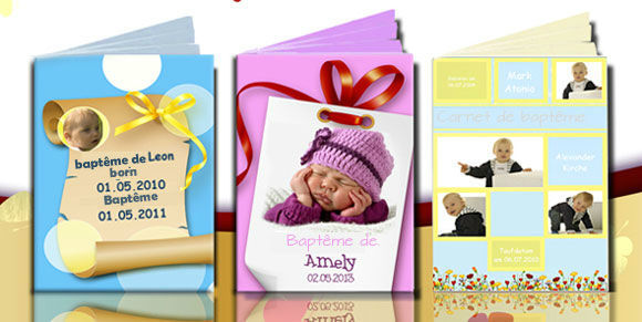 Créer un carnet de baptême.  Les carnets de baptême sont un joli souvenir du premier sacrement de l'enfan. http://www.livret-mariage.fr/carnet-livret-bapteme.html