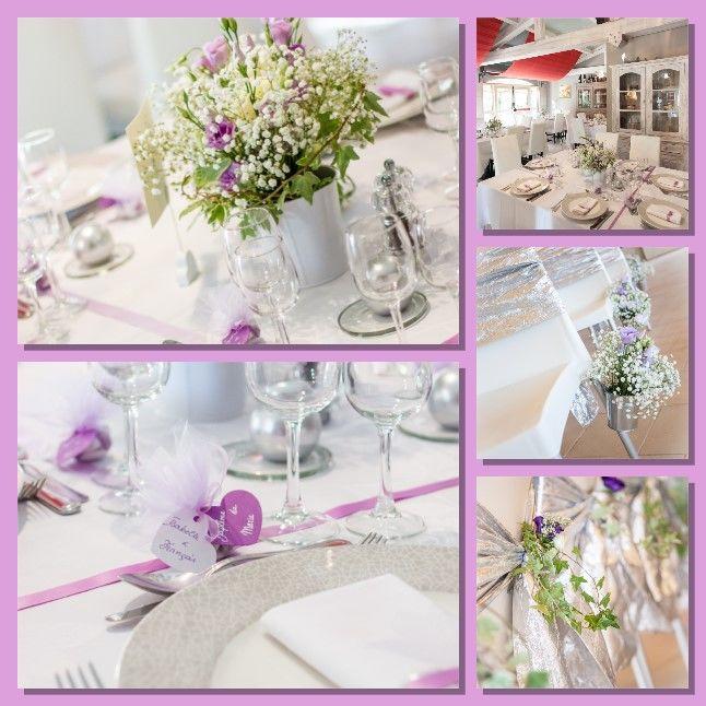 Création d'événement sur mesure pour un  renouvellement de vœux. Cérémonie d'engagement, décoration des différents espaces. décoration des tables dans les tons parme.