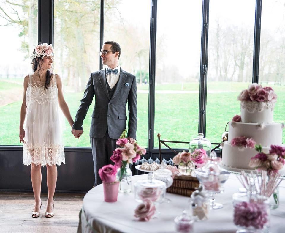 wedding cake blanc et rose