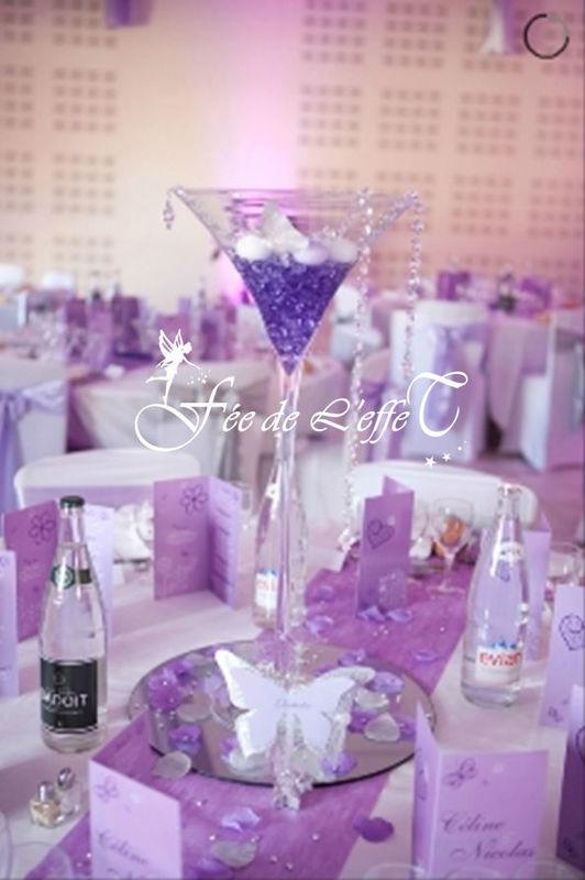 Fée de l'effet - Location Centre de table -Vase Martini bougies flottantes