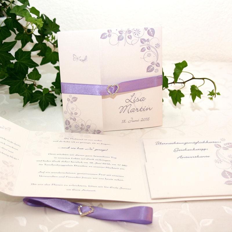 Cela-Design Pocket-Hochzeitseinladungen mit viel Platz für Organisatorische Sachen