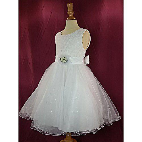 Robe de cérémonie blanche pour fille, en tulle, communion, baptême du 2 ans au 12 ans