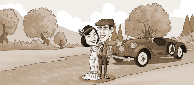 Caricatura digital para novios ,coloreado en sepia