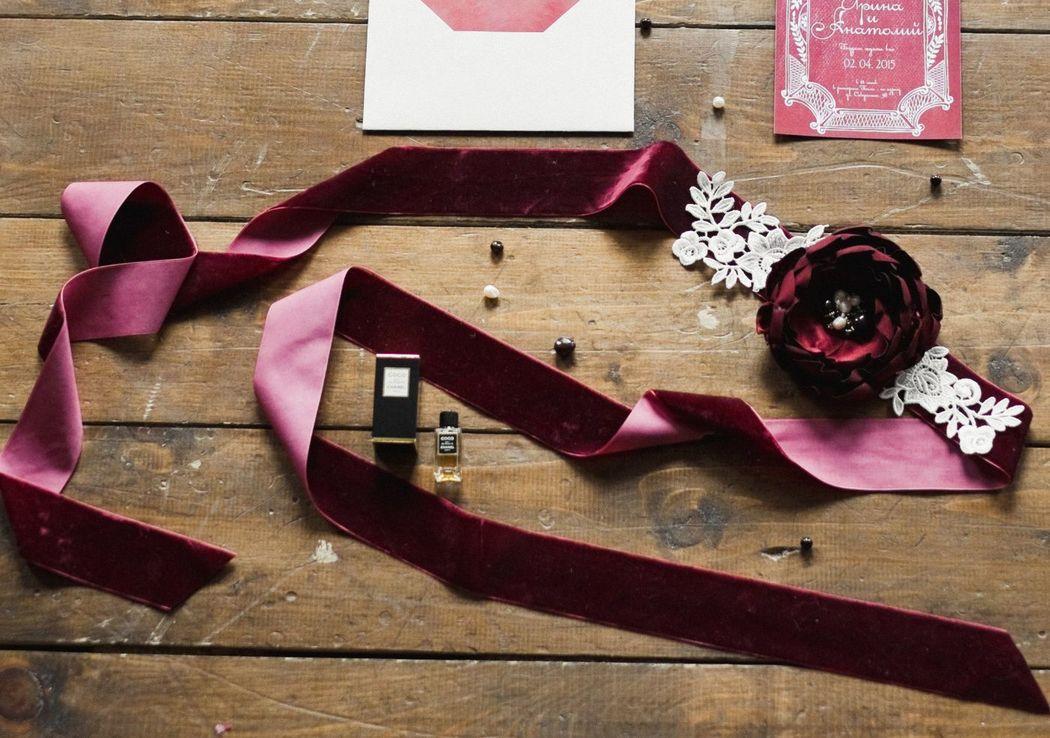 Workshop Leteria Свадебный пояс в цвете марсала