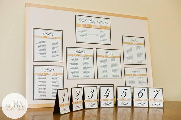 Plan stołów, table weselne w komplecie z numerami na stoły wykonane ręcznie