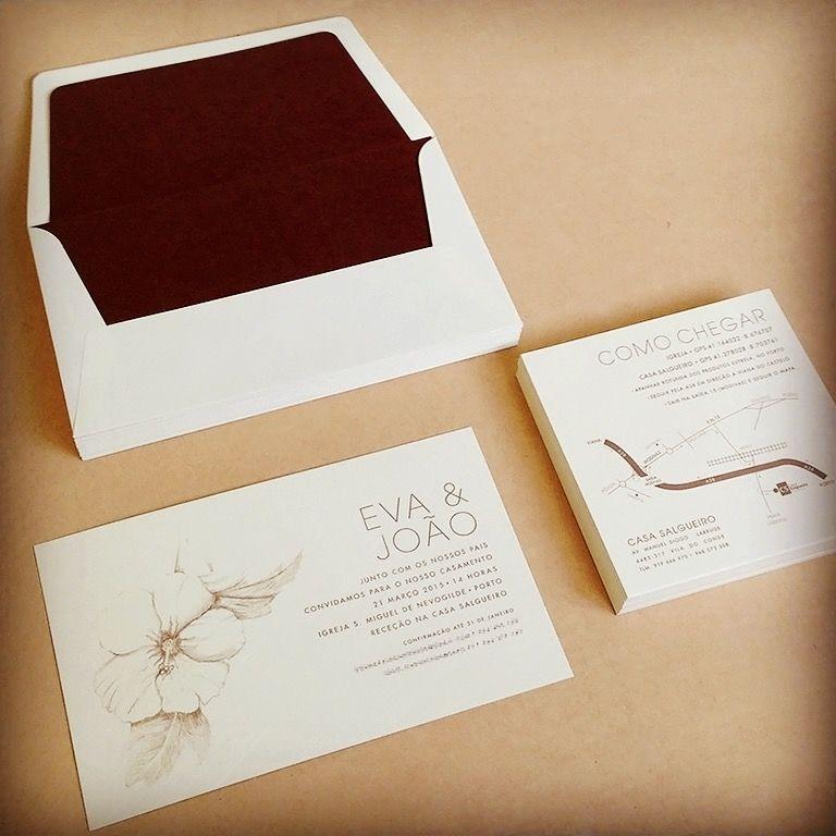 Convites e mapas para casamento da Eva e João